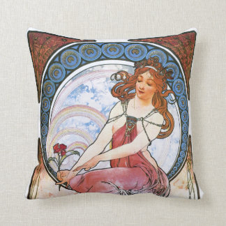Alfons Mucha: Muse of Painting Throw Pillows