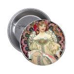Alfons Mucha Reverie 1897 2 Inch Round Button