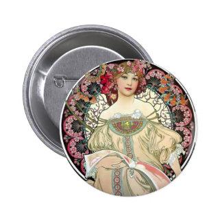 Alfons Mucha Reverie 1897 Button