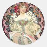 Alfons Mucha Reverie 1897 Classic Round Sticker