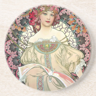 Alfons Mucha Reverie 1897 Coaster