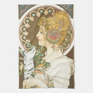 Alfons Mucha Woman in Profile Feather 1899 Kitchen Towel