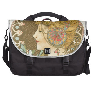 Alfons Mucha Woman in Profile Feather 1899 Laptop Messenger Bag