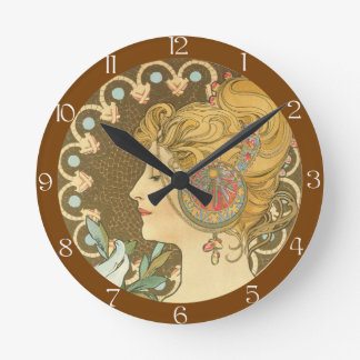 Alfons Mucha Woman in Profile Feather 1899 Round Clock