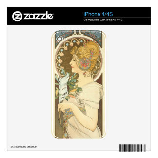 Alfons Mucha Woman in Profile Feather 1899 Decal For The iPhone 4S