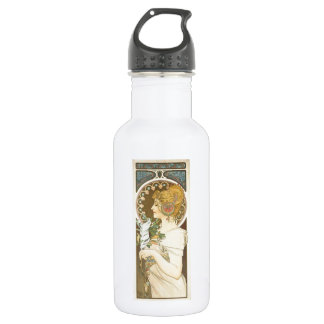 Alfons Mucha Woman in Profile Feather 1899 Water Bottle