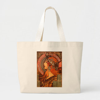 Alfons Mucha woman in profile painting savonnerie Large Tote Bag