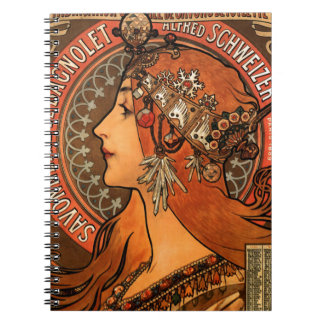Alfons Mucha woman in profile painting savonnerie Notebooks