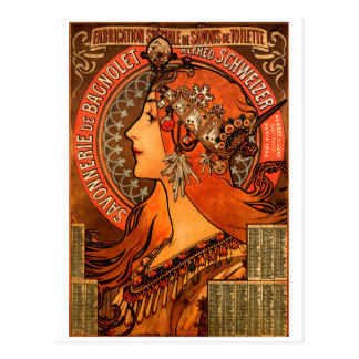 Alfons Mucha woman in profile painting savonnerie Postcard