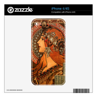 Alfons Mucha woman in profile painting savonnerie Skins For The iPhone 4S