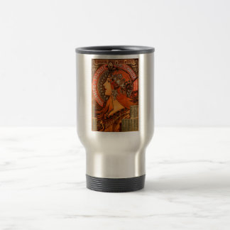 Alfons Mucha woman in profile painting savonnerie Travel Mug