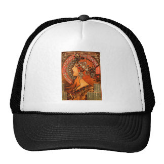 Alfons Mucha woman in profile painting savonnerie Trucker Hat