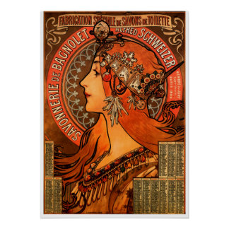 Alfons Mucha woman silhouette Poster