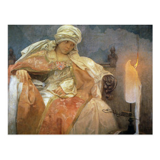 Alfons Mucha ~ Women with Burning Candle Postcard