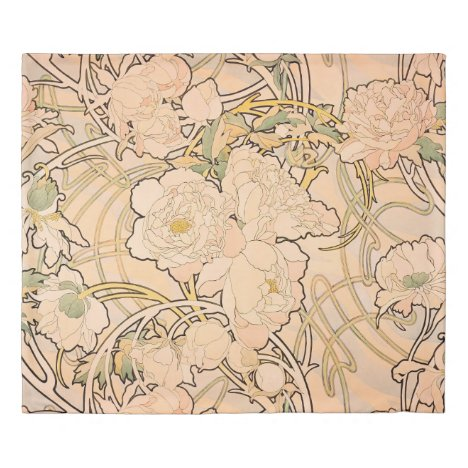 Alfonse Mucha Art Nouveau Peonies Duvet Cover