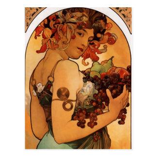 Alfonse Mucha Fruit Postcard
