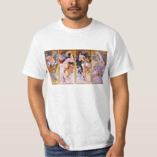 Alfonso Mucha camiseta de cuatro estaciones Polera