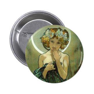 Alfonso Mucha Clair De Lune Button Pin