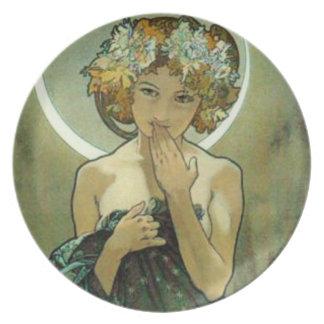 Alfonso Mucha Clair De Lune Plate Platos Para Fiestas