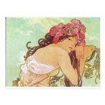 Alfonso Mucha. Ete/verano, 1896 Tarjeta Postal