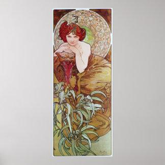 Alfonso Mucha.L 'Emeraude/Emerald, 1900 Póster
