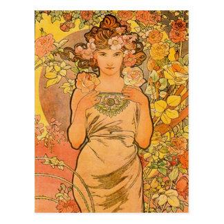 Alfonso Mucha la postal color de rosa