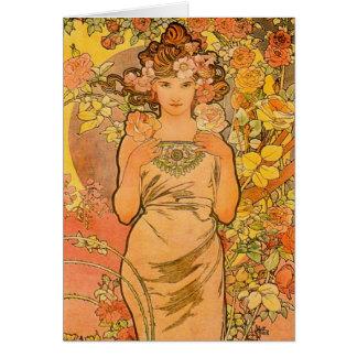 Alfonso Mucha la tarjeta de felicitación color de