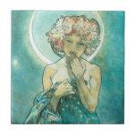 Alfonso Mucha Moonlight Clair De Lune Art Nouveau Azulejo Cuadrado Pequeño