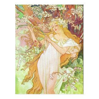 Alfonso Mucha Printemps/primavera, 1896 Postal