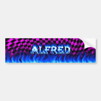 Alfred blue fire and flames bumper sticker design. car bumper sticker