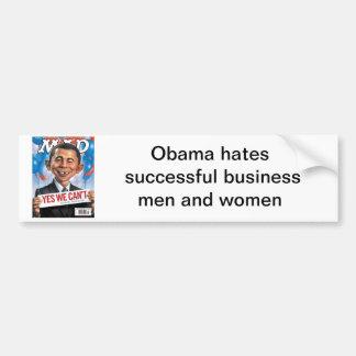 alfred-e-obama-head, Obama hates successful bus... Bumper Sticker