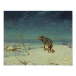 Alfred Kowalski Lone Wolf in Winter Oil Painting Poster
