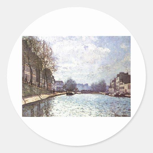 Alfred Sisley - Ansicht Kanals Saint-Martin 1870 Classic Round Sticker