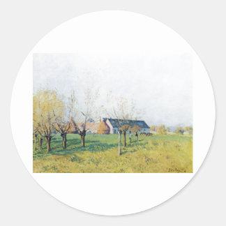 Alfred Sisley Bauernhof zum Höllenkaff  1874 Classic Round Sticker