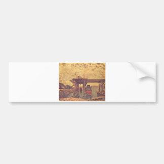 Alfred Sisley - Brücke im Bau 1885 Oil on Canvas Bumper Sticker