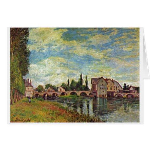 Alfred Sisley Brücke, Mühle v Moret im Sommer 1888 Tarjeta De Felicitación