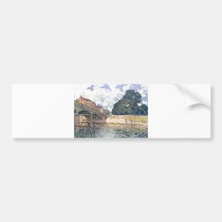 Alfred Sisley - Brücke von Hampton Court 1874 Oil Car Bumper Sticker