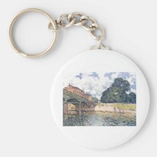 Alfred Sisley - Brücke von Hampton Court 1874 Oil Keychain