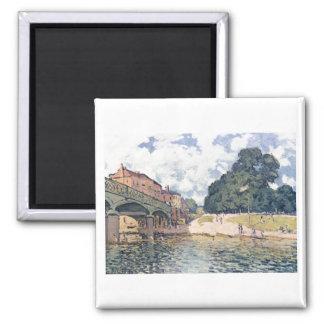 Alfred Sisley - Brücke von Hampton Court 1874 Oil Magnet