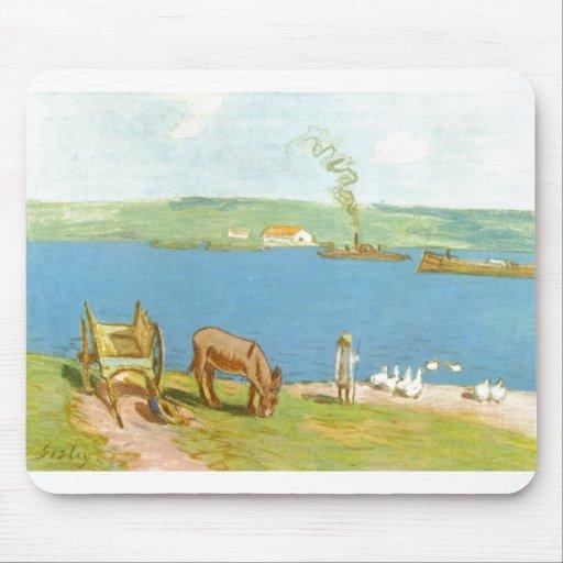 Alfred Sisley - carro de burro de los gansos de Fl Alfombrillas De Ratón