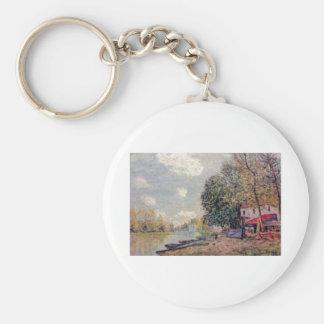 Alfred Sisley  -  Der Loing in Moret 1888 Basic Round Button Keychain