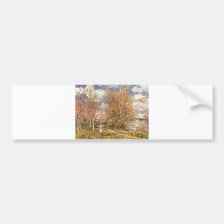Alfred Sisley Die kleinen Wiesen im Frühling 1880 Car Bumper Sticker