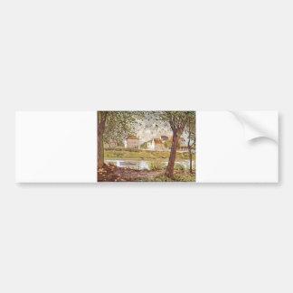Alfred Sisley - Dorf am Ufer der Seine 1872 Oil Bumper Sticker