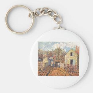 Alfred Sisley - Dorf von Voisins, Village Oil 1874 Keychain