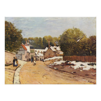 Alfred Sisley Erster Schnee in Louveciennes 1870 Poster