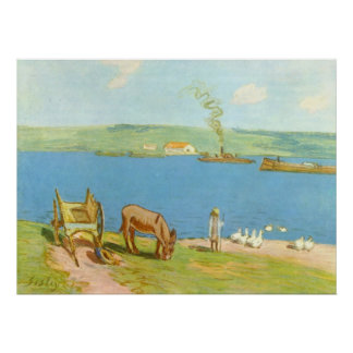 Alfred Sisley - Flussufer 1890 Geese Donkey Cart Poster
