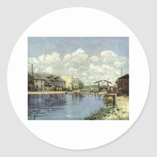Alfred Sisley - Kanal - Le canal San Martín 1872 Pegatina Redonda