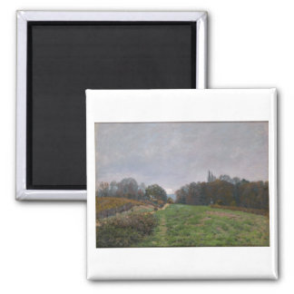 Alfred Sisley - Landscape at Louveciennes 1873 2 Inch Square Magnet