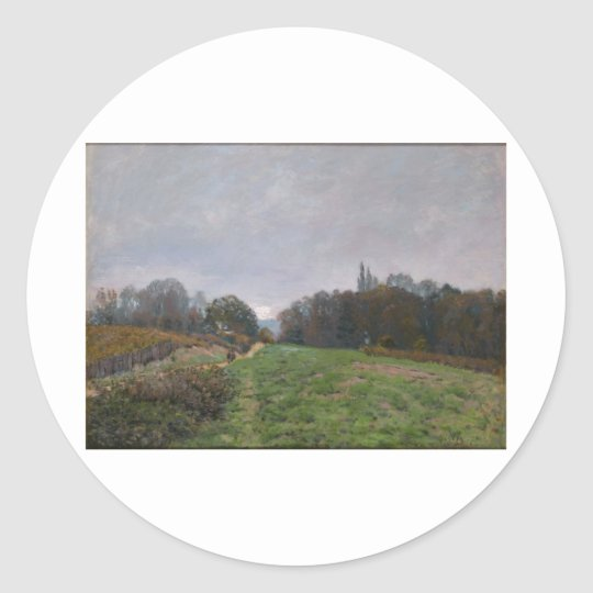 Alfred Sisley - Landscape at Louveciennes 1873 Classic Round Sticker
