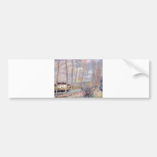 Alfred Sisley Loing - paisaje del aceite de Kanal  Pegatina Para Auto